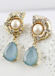 Blue Drop Gemstone Gold Pearl Earrings - Sheinside.com