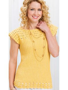 This sunny top is deceptively simple to create with 2 pieces seamed together at…