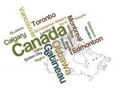 Nuage de carte et les mots de Canada avec les grandes villes Banque d'images