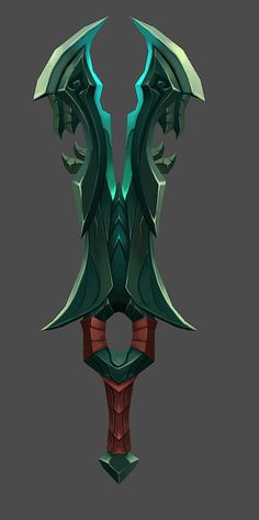 Anthony: i like the idea of weapons being implemented in the game, this design is really good, the sword has some kind of face design (it looks like a scary face from the side)