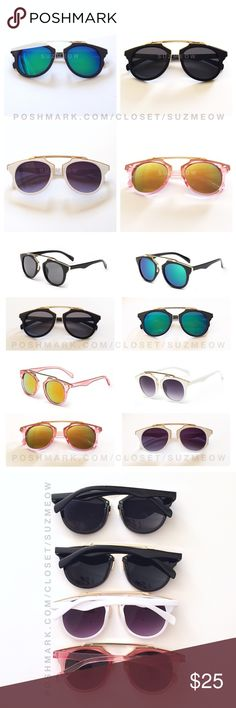 New! Wire Framed Modern Sunglasses • 4 Colors Trendy modern sunnies- perfect for summer! Available in black/black, black/blue-green mirrored, white/black, and translucent pink/ orange-yellow mirrored Items are as pictured UV 400 Protection ✅Bundles are discounted!✅ No trades, No offline transactions Katana Couture Accessories Sunglasses