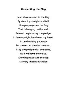 This poem explains how to show respect to the flag by appropriately reciting the Pledge of Allegiance.
