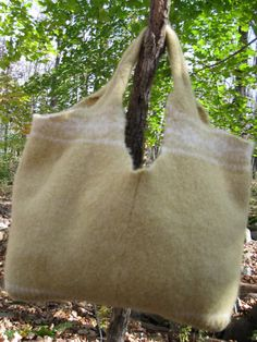 Yellow Felted Wool Up cycled Sweater Tote Bag by 4onemore on Etsy, $20.00