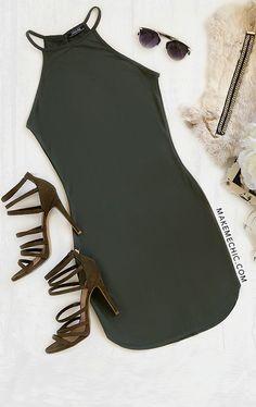 Army Green Sexy Dress