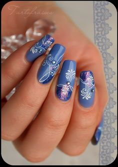 Top Blue Nail Art Designs To Suit Your Blue Costumes Easyday Nail Designs 2014, Blue Nail Designs, Beautiful Nail Designs, Beautiful Nail Art, Cool Nail Designs, Blue Design, Floral Design, Fancy Nails, Pretty Nails
