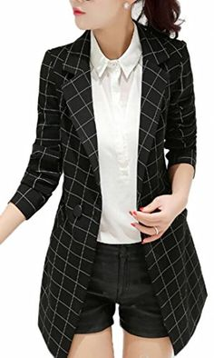 98acfaa3 XiaoTianXin-women clothes XTX Women's Notched Lapel Plaid 1 Button Slim  Work Suit Suit Jacket