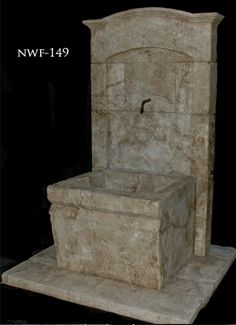 Hand carved stone wall fountain (lots of options at this link) Limestone Wall, Limestone Fireplace, Outdoor Landscaping, Landscaping Ideas, Water Features, Hand Carved, Wall Fountains, Surface, Carving