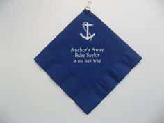 100 Bev personal napkins 50 navy with white 50 white Anchor's Away Saylor Is on her way. www.etsy.com/jkimprints
