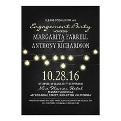 Romantic string lights chalkboard engagement party invitation