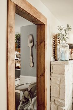 Doorway casing with With Wood Beam Look — Jessica Diana Schlichtman Door Frame Molding, Wood Door Frame, Wood Doors, Oak Door Frames, Wood Molding, Mens Room Decor, Home Decor, Stained Trim, Faux Beams