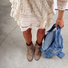 Lace dress, beige suede boots, jean jacket