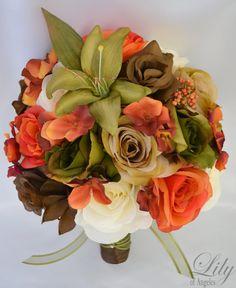 "17pcs Wedding Bridal Bouquet Silk Flower Decoration Package ORANGE MOSS GREEN ""Lily of Angeles"". $209.99, via Etsy."