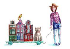 #girl #house #cat #art #illustration #Sofia  #Yana Fefelova