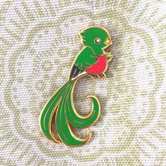 Quetzal-Vogel-Emaille-Anstecknadel