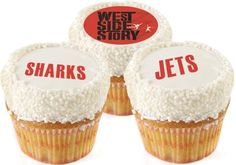 Cupcakes perfect for a WEST SIDE STORY themed party! Come see WEST SIDE STORY live on stage produced by Music Circus August 4 - 9, 2015 at the Wells Fargo Pavilion.  TICKETS: http://www.californiamusicaltheatre.com/events/westsidestory/