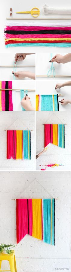 DIY Yarn Wall Handing