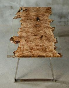 Poplar resin table, live edge table made mappa burl wood, luxury dining table - Malita Just Wood on Etsy - see my shop - Live Edge Tisch, Live Edge Table, Wood Table Design, Table Designs, Luxury Dining Tables, Woodworking Furniture Plans, Woodworking Ideas, Art Deco Stil, Walnut Shell