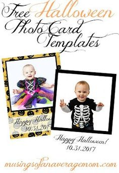Free printable Halloween photo cards templates - 4 different styles!