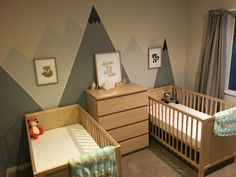 Gender neutral nursery for twins.   #mountains #woodland #dreambiglittleones