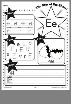 Tracing Worksheets, Preschool Worksheets, Letter E, Learning The Alphabet, Phonics, Homeschooling, Kindergarten, Writing, Ideas