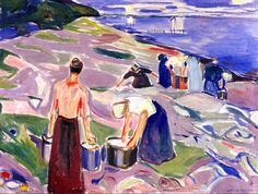 bofransson:  Washing Clothes by the Sea Edvard Munch - 1920-1930