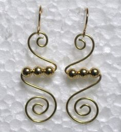 Gold Trio Coiled Wire Artisan Dangle Earrings Uniquely Handcrafted by Jen | eBay
