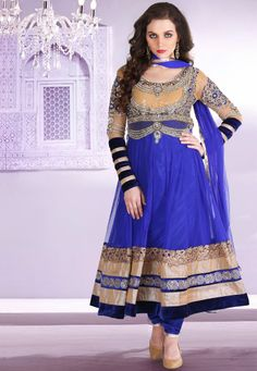 Royal Blue and Peach Yellow embroidered festival anarkali kameez intricate with zari thread, resham thread, sequins