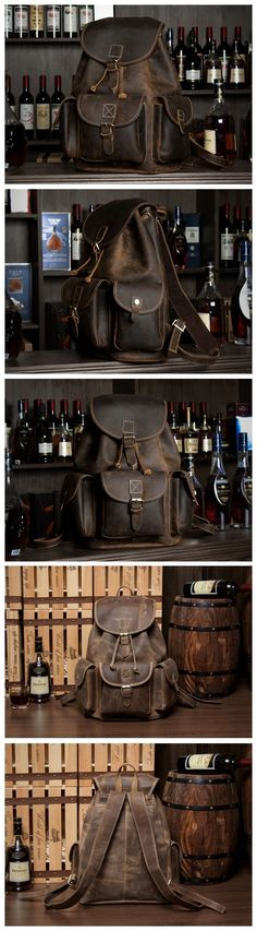 Handmade Vintage Leather Backpack Rucksack School Backpack