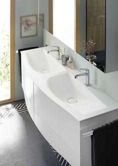 burgbad Sinea - Double washbasin with velvet surface