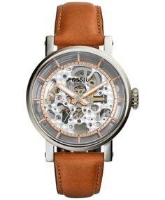 Fossil Women's Automatic Original Boyfriend Tan Leather Strap Watch 38mm ME3109 | macys.com