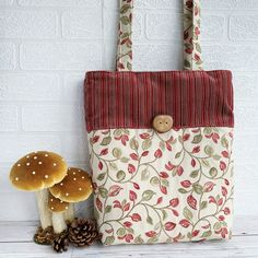 Woodland Leaves Tote Bag £16.00 Toiletry Bag, Tote Bag, Woodland Theme, Shades Of Red, Handmade Wooden, Dark Red, Stripes, Leaves, Fabric