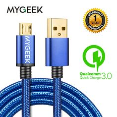 MyGeek Nylon Micro USB Cable for Android 2m Micro USB Mobile Phone Charging Cables for  Samsung HTC Huawei Fast Charge wire  Price: 2.54 USD