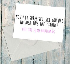 Funny Bridesmaid Proposal, Will You Be My, Asking Card, Bridal Party, Be My…
