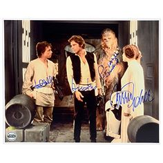 Harrison Ford, Carrie Fisher, Mark Hamill and Peter Mayhew Autographed Star Wars A New Hope16x20 Death Star Escape Photo