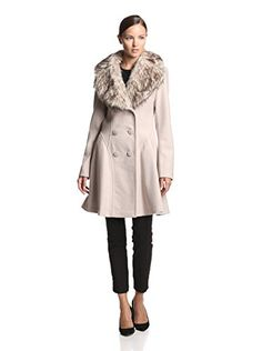 www.myhabit.com  Double-breasted coat with button closure, wide notched collar with removable faux fur overlay and welted pockets