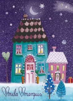 4 small Christmas cards by Mila Marquis by MarquisWonderland
