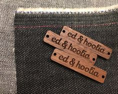 Version 2 of the ed & hoolia tag. So happy to receive my stash this week from @vectoretch . Andy hooked me up with solid walnut which the original tag was made of but I went with a slightly larger size and had it varnished. It really brings out the lovely walnut colour. I am so happy with my version 2. Really chuffed! Can't wait to stitch these babies onto my cushions. . . #wood #walnut #etching #simple #branding #tag #denim #cushions #handmade #buylocal #happycustomer #design…