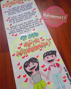 Hermosos detalles 💜 @dulceamor17 Personalizamos tus tarjetas, carteleras y afiches ... | Yooying Birthday Cake Toppers, Couple Shirts, Boyfriend Gifts, Billboard, Art Sketches, Ideas Para, Disneyland, Origami, Diy And Crafts