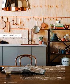 Cool decorating trick! (Copper piping and plywood walls) Photography Chris Warnes | Styling Sarah Ellison for Real Living.