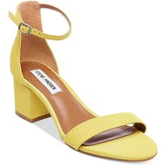 Steve Madden Women's Irenee Two-Piece Block-Heel Sandals ($79) ❤ liked on Polyvore featuring shoes, sandals, yellow nubuck, heeled sandals, block heel ankle strap sandals, yellow shoes, ankle wrap sandals and steve-madden shoes