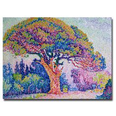 This ready to hang, gallery-wrapped art piece features a tree at St. Tropez. Paul Signac was a French neo-impressionist painter. He sailed around the coasts of Europe, painting the landscapes he encou