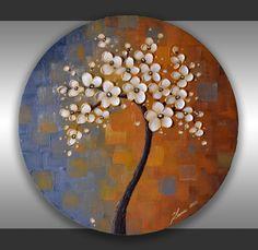 24x20 Oval Canvas ORIGINAL Abstract Landscape Heavy by ZarasShop