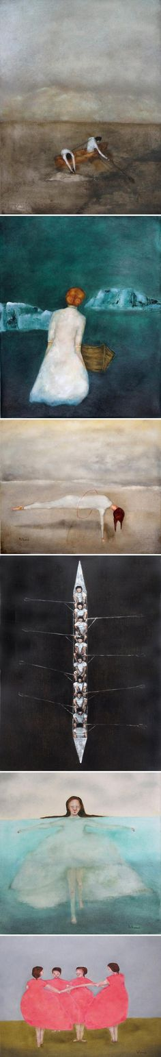 We're hypnotized by Kat Hannah's subtly spooky oil paintings and art prints of moody seas and eerie childhood scenes. #etsy #art