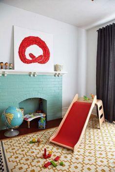 turquoise fireplace, ikea slide, ikea rug in playroom Paint Fireplace, Old Fireplace, Fireplace Design, Brick Fireplaces, Casa Kids, Indoor Slides, Painted Brick Walls, Painted Mantle, Ikea Rug