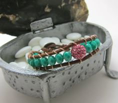Leather Wrap Bracelet in Light Sapphire Faceted by AlexisLjewelry, $56.00