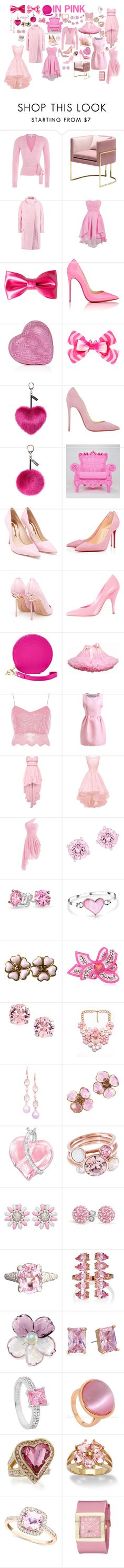 in pink by luisa-trujillo on Polyvore featuring moda, Diane Von Furstenberg, River Island, Just Cavalli, Sophia Webster, Christian Louboutin, Moschino, FOSSIL, Judith Leiber and Invicta