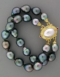 18KY Gold Tahitian Pearl Bracelet with Ruby, Mabe Pearl and Moonstone Reversible Clasp