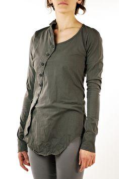 Rundholz Dip Asymmetrical Button Long Sleeve Shirt in Oil