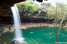 Hamilton's Pool, outside of Austin, Texas. A favorite of locals, this secluded pool is a great place to swim and enjoy the view. Photo from Texas Parks and Wildlife Magazine - Laurence Parent.