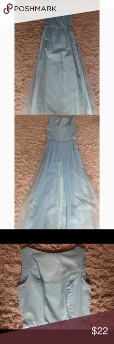 60's blue prom/formal dress ❁ sleeveless blue prom/formal dress ❁ chiffon-like overlay at top ❁ sheer, split cape at back ❁ side zipper ❁ some underarm yellowing, barely noticeable, see photo 4 ❁ tear in the top overlay, not noticeable when worn, see photo 5 ❁ small stain in middle of dress, see photo 6 ❁ small snag at bottom but will be covered by the cape, see photos 7-8  measurements ❁ bust: 34 inches waist: 26 inches hips: 36 inches length: 58 inches Vintage Dresses Prom